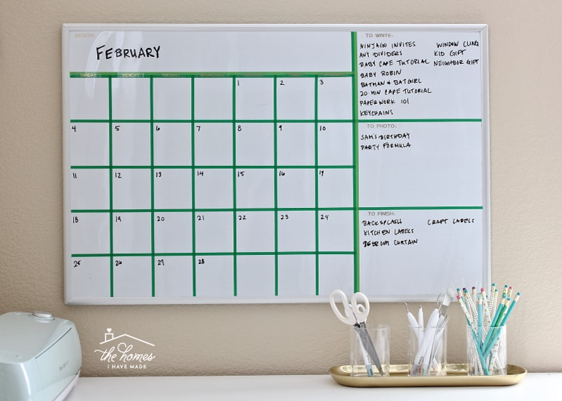 photograph relating to Printable Whiteboard titled Generate Your Particular Dry-Erase Calendar with Washi Tape The