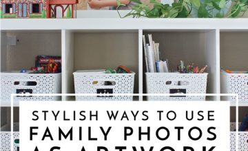 Using family photos as artwork is a great way to add personality to your home! Here are some ways to make them super stylish as well!