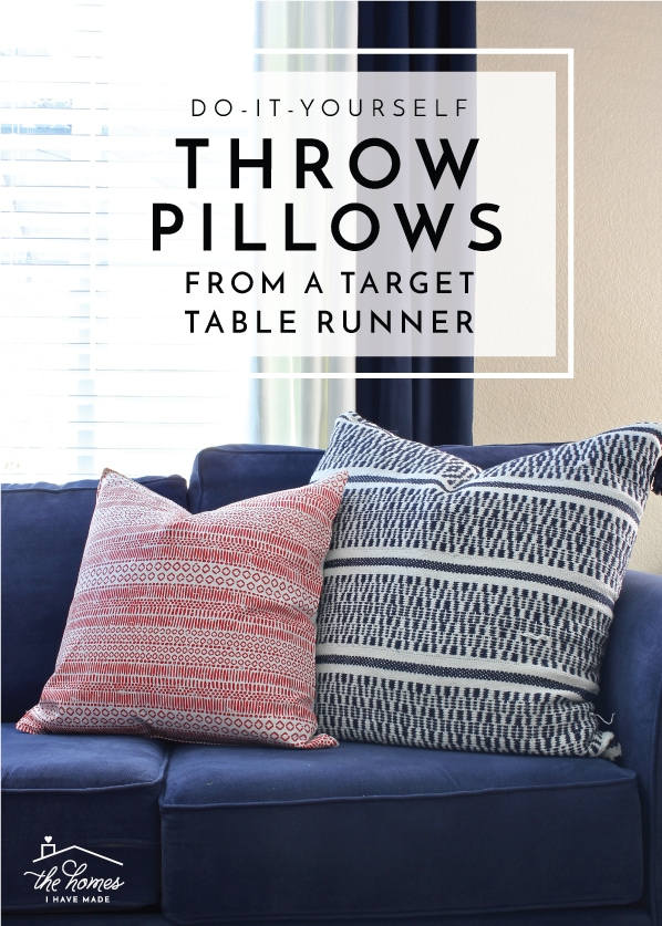 It's so quick and easy to transform a simple table runner from Target into throw pillow covers! This tutorial shows you exactly how to do it!