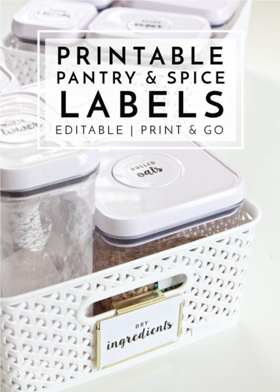 Get your pantry and spice cabinet in order with these fully customizable pantry and spice jar labels! Simply edit, print and label!