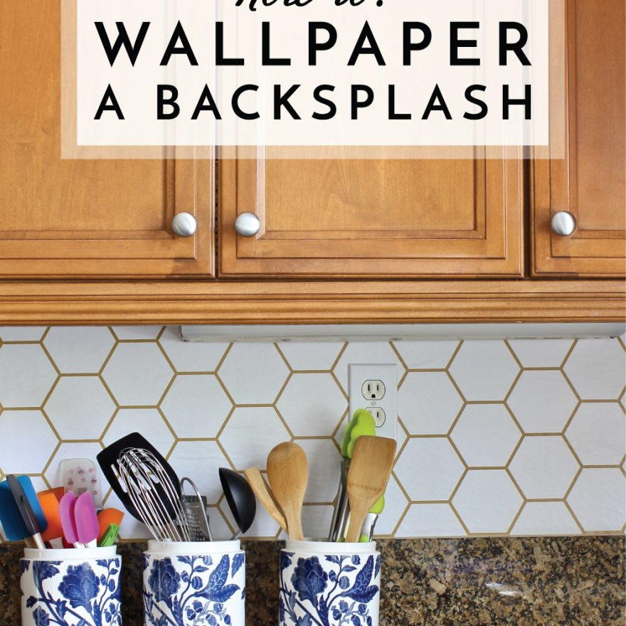Adding pattern to your kitchen backsplash doesn't have to require tile! This tutorial shows you exactly how to wallpaper a backsplash for that pop of pattern your craving!