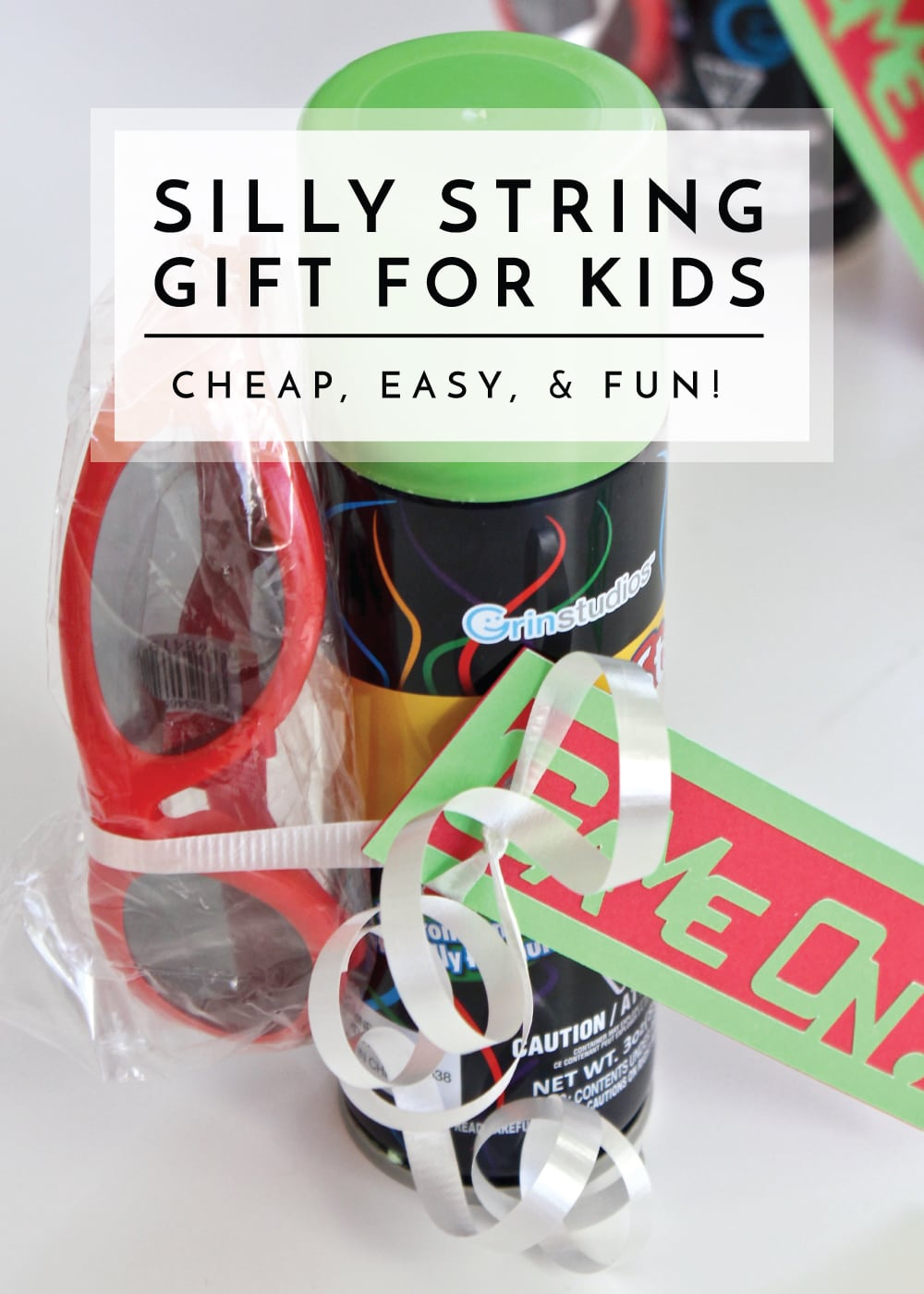 Celebrate birthdays, holidays or the last day of school with these quick and easy Silly String Gift for Kids!
