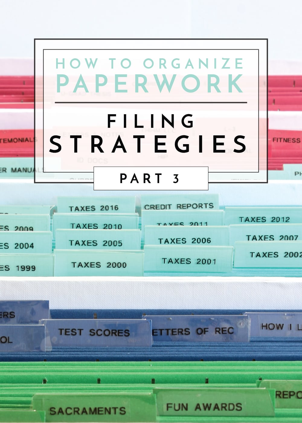 Figuring out how best to organize and file household paperwork can be a frustrating experience! Use these Paper Filing Strategies to cut through the clutter and create a system that works!