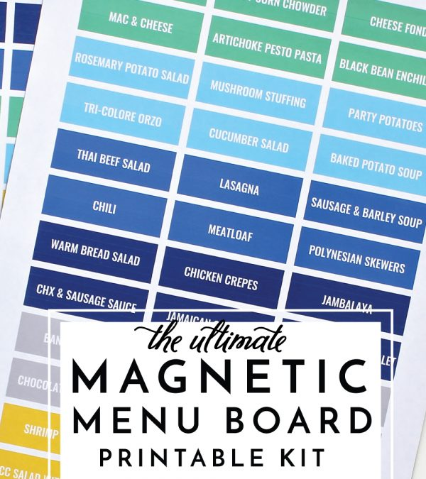 Save time and stress by planning out your monthly meal plan with The Ultimate Magnetic Menu Board Printable Kit - it includes everything you need to plan your meal and organize your recipes!