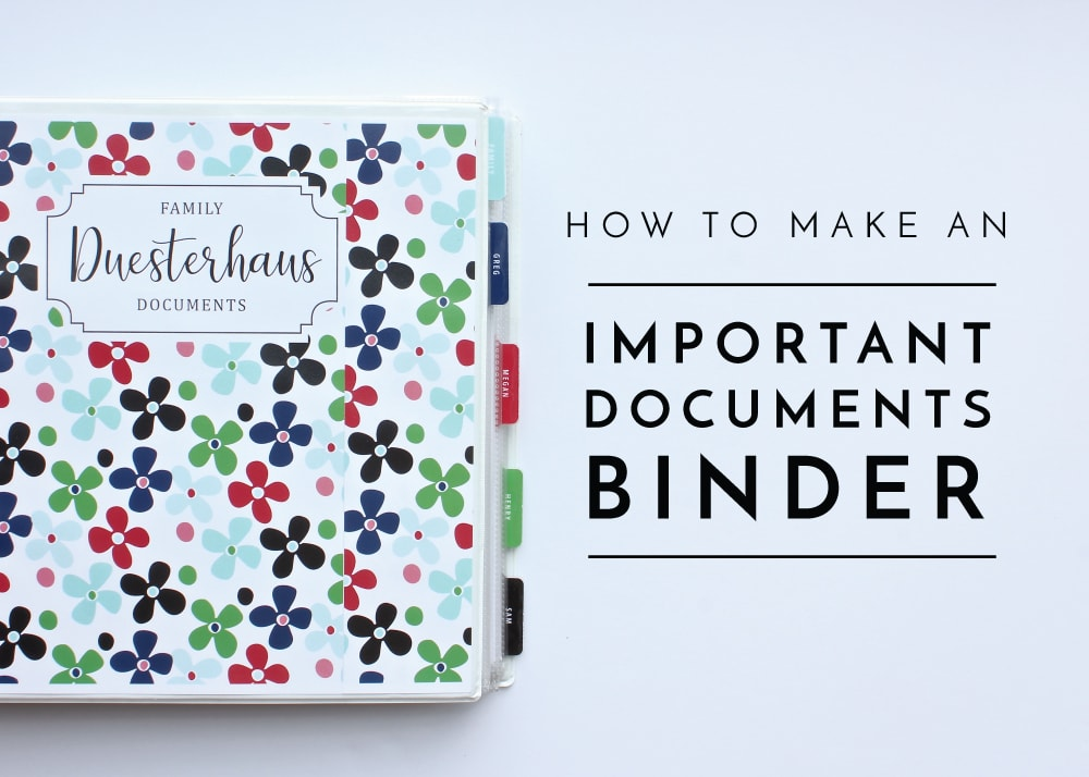 Organize all your personal identification documents into a Personal Documents Binder so they are quick and easy to find while remaining safe and secure!