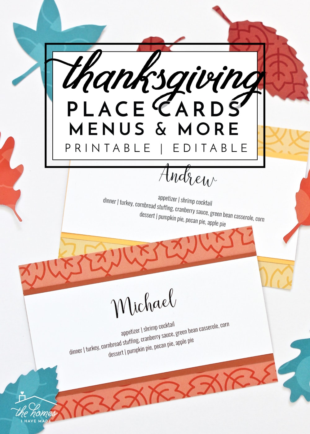 Get your Thanksgiving table ready in a snap with this printable kit full of printable Thanksgiving place cards, menu cards, thankful cards, patterns and more!