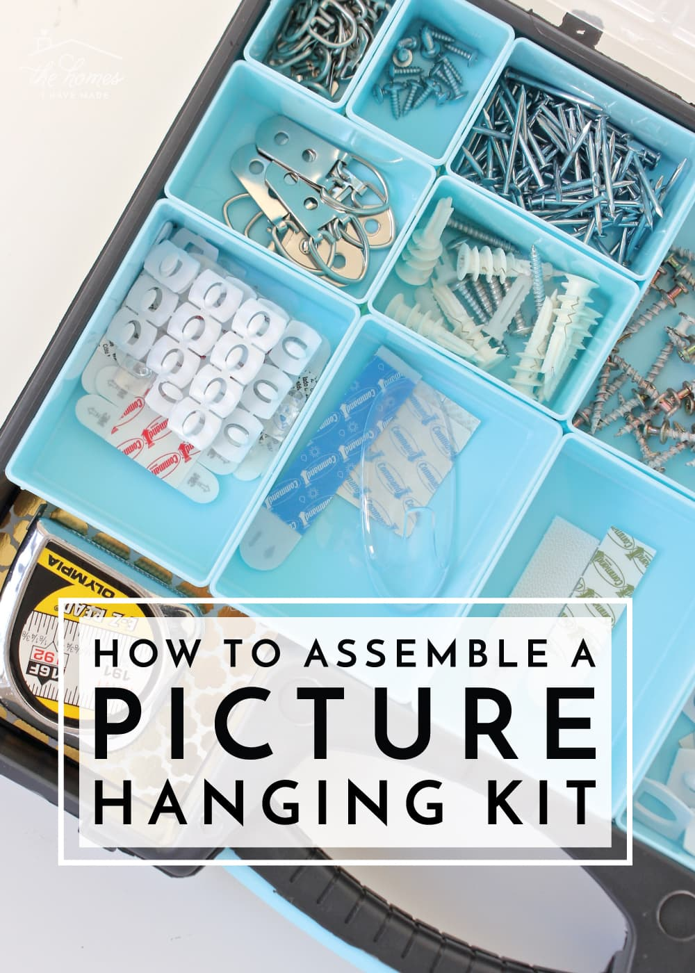 Keep everything you need to hang art, pictures, and frames handy in this simple Picture Hanging Kit!