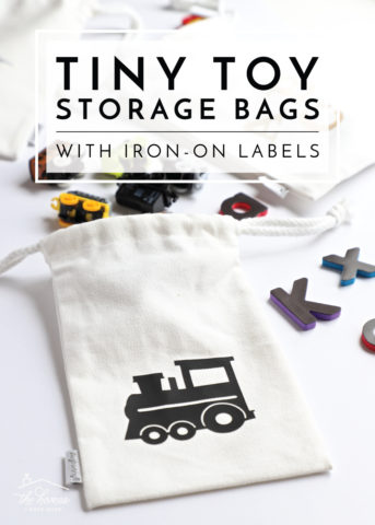Organize all the little toys around your house with these tiny toy storage bags featuring iron-on labels made with a Cricut Maker and EasyPress!
