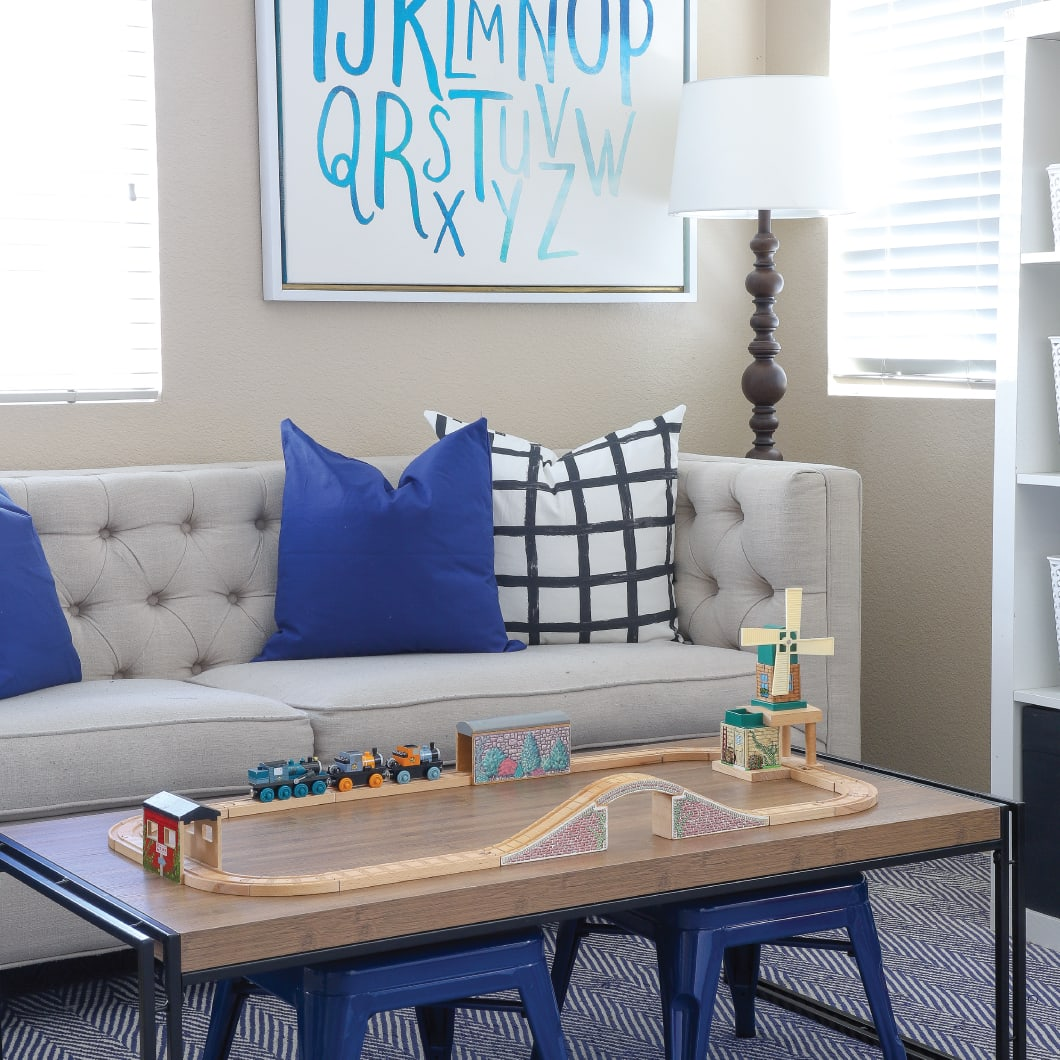 This California rental has the sweetest playroom with the smartest toy organization solutions!