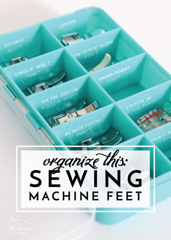 Does your sewing machine use lots of different feet? Try this easy solution to organize sewing machine feet!