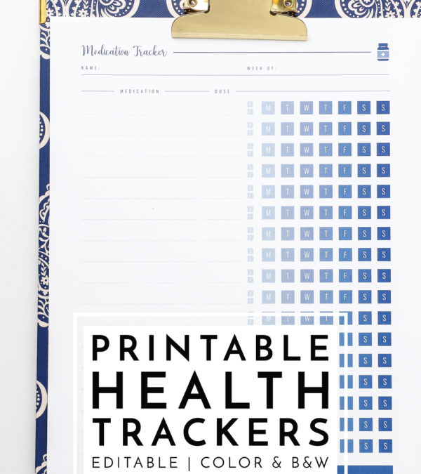From medications to blood pressure, healthy habits to sleep, these gorgeous Printable Health Trackers will help you stay on top of all your health and medical details!