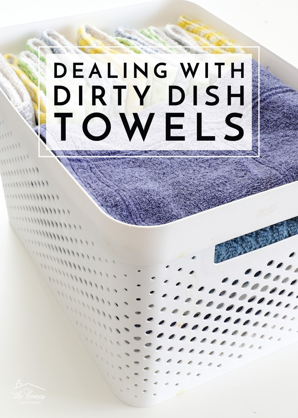 Anyone else tired of piles of dirty dish towels? Check out this easy trick to keeping them all corralled until wash day!