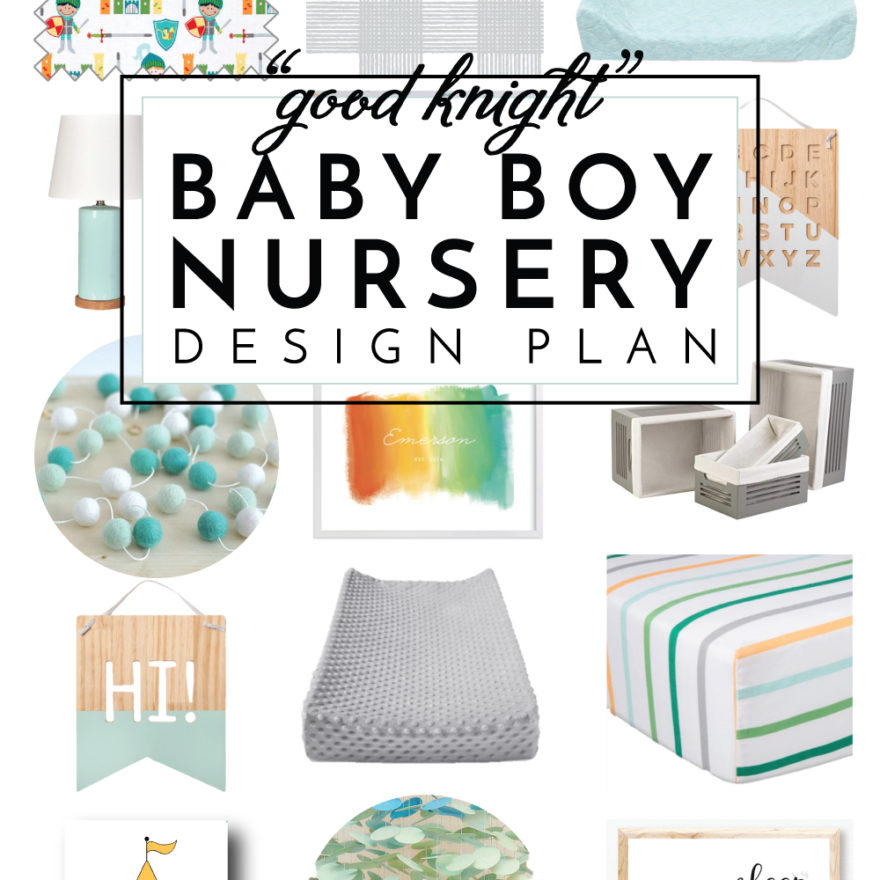 Looking for a fun and unique way to decorate a baby boy nursery? Check out this knight-themed design plan!