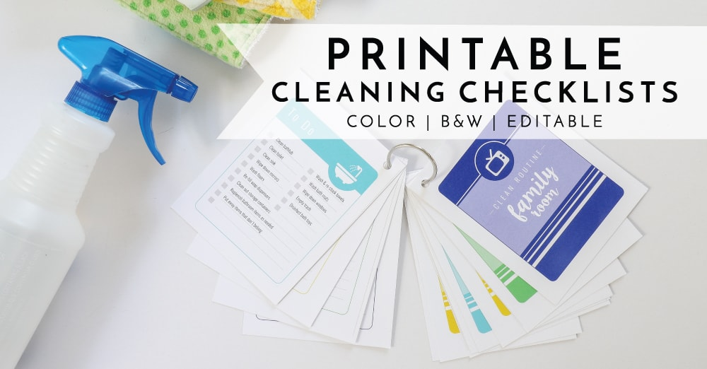 Streamline and organize your Spring Cleaning (or everyday cleaning!) with these editable and printable Cleaning Checklist Cards1