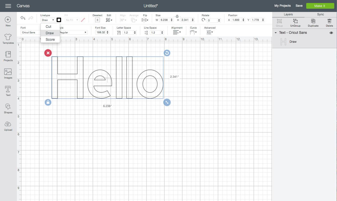 screenshot of the cricut design studio interface. The word hello is written on the design canvas.