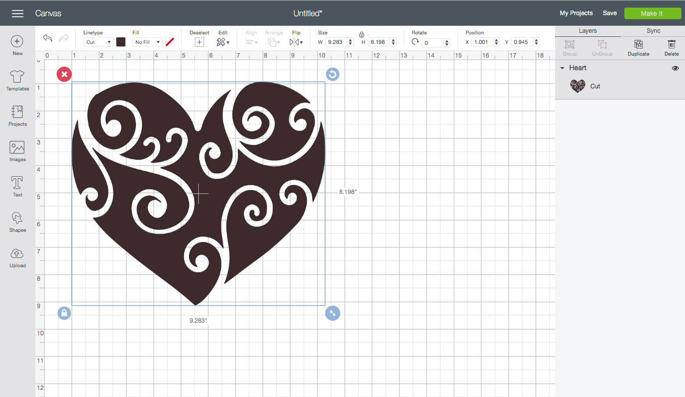 screenshot of the cricut design studio interface. A Heart Design is shown.