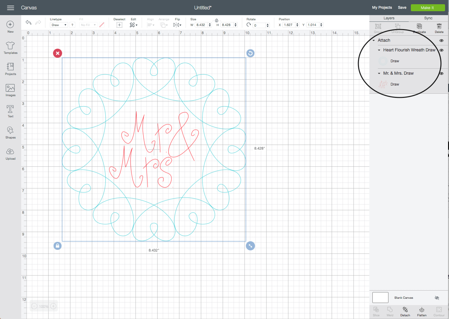 """screenshot of the cricut design studio interface. The design is a blue heart wreath with the words """"Mr & Mrs."""" in the middle."""