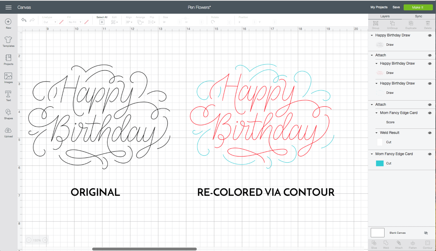 """screenshot of the cricut design studio interface. The words """"happy birthday are shown in two different colors."""