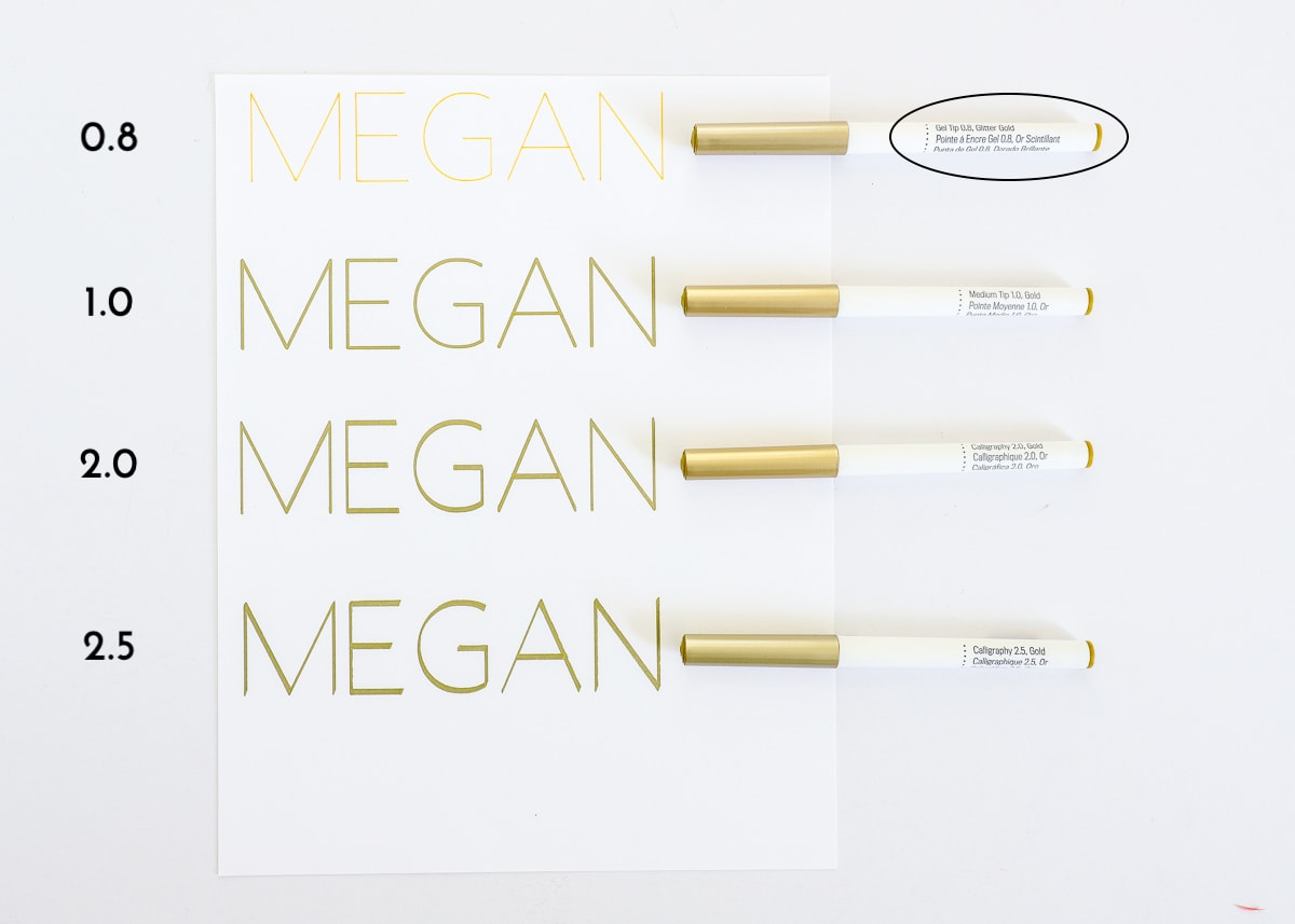 """diagram showing the name """"megan"""" written in gold marker with 4 different weights."""