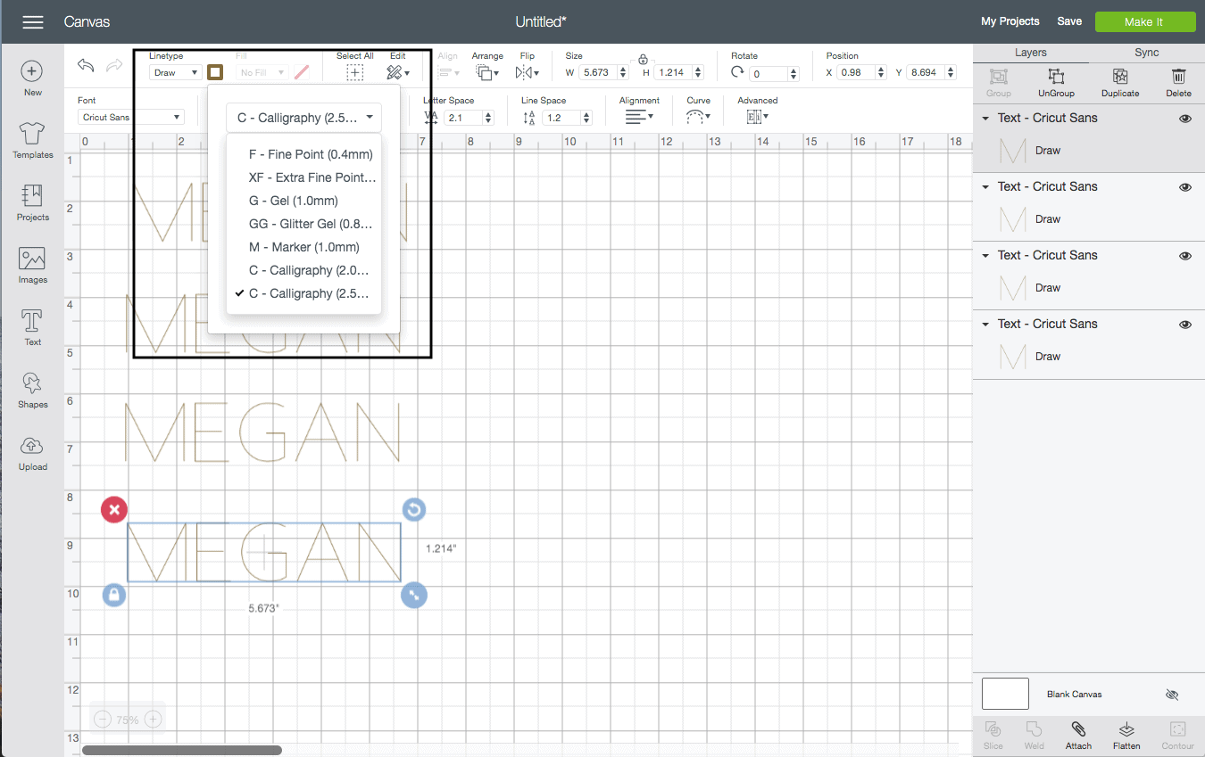 screenshot of the cricut design studio interface. the dropdown menu is selected, showing how to select the weight of your cricut pen
