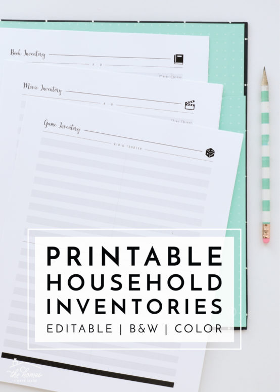 Looking for a quick and easy way to keep track of everything in your house? These Printable Household Inventories provide a spot to write it AAALLL down!