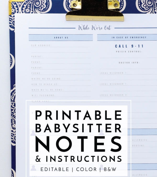 Printable Babysitter Notes & Instructions