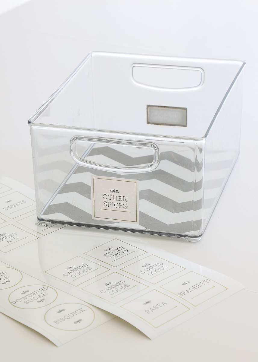 clear bin with label