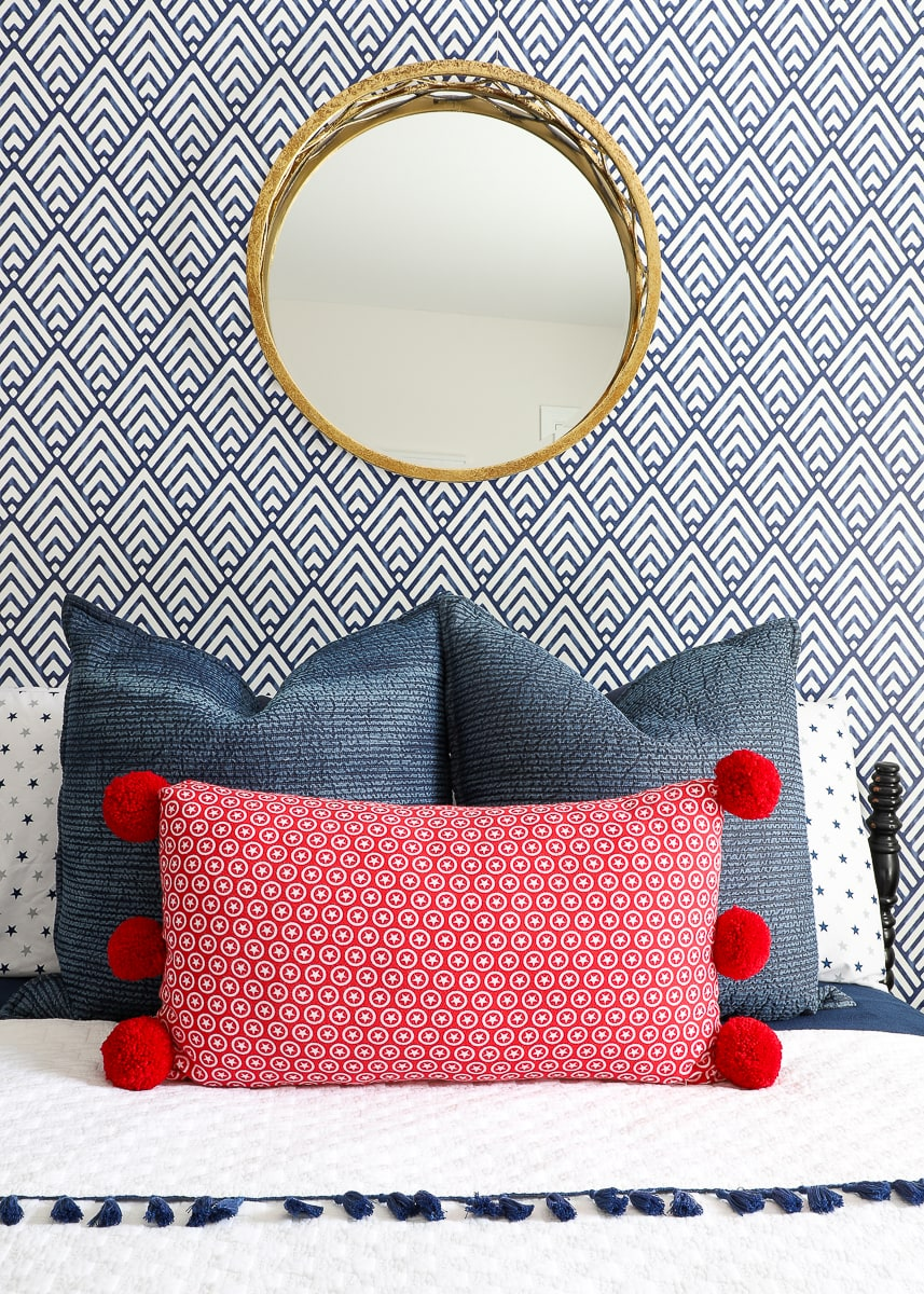 how to add pom poms to a pillow