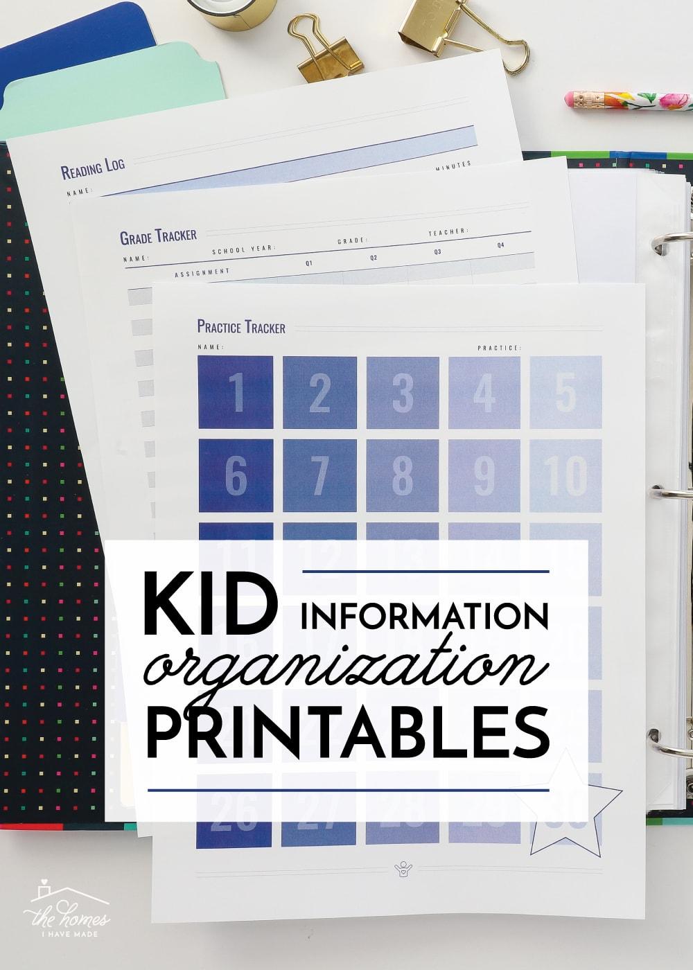 Kid Organization Printables