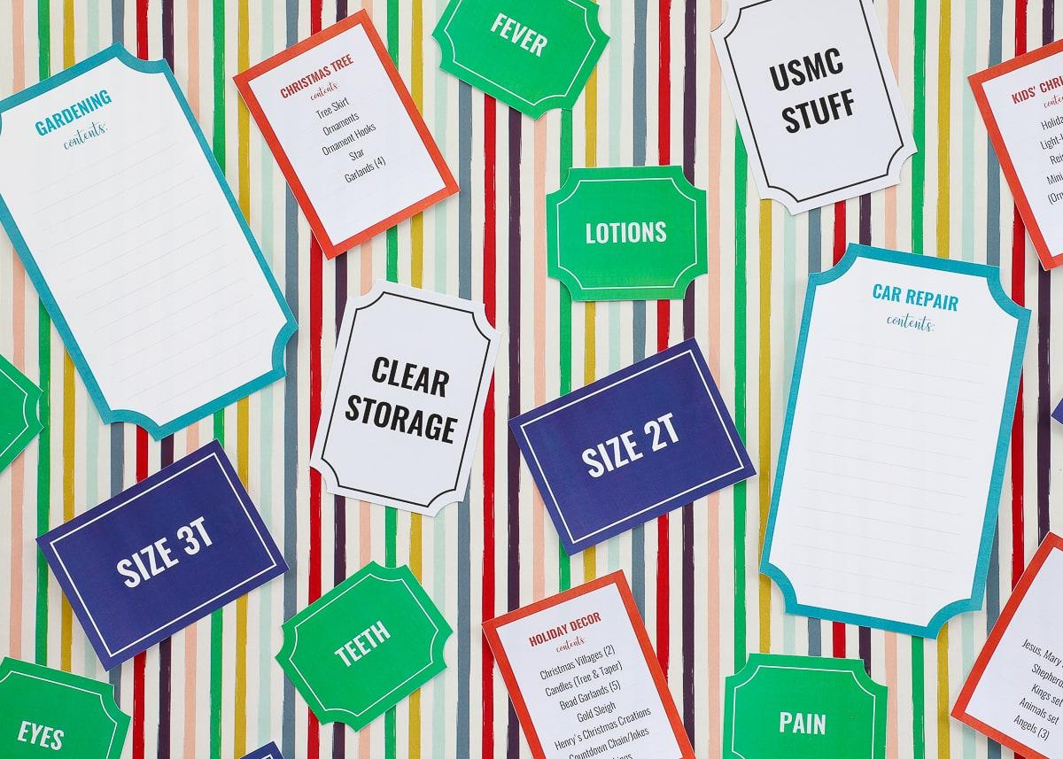 Printable Storage Box Labels