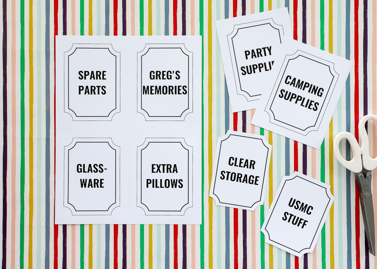 Printable Storage Box Labels