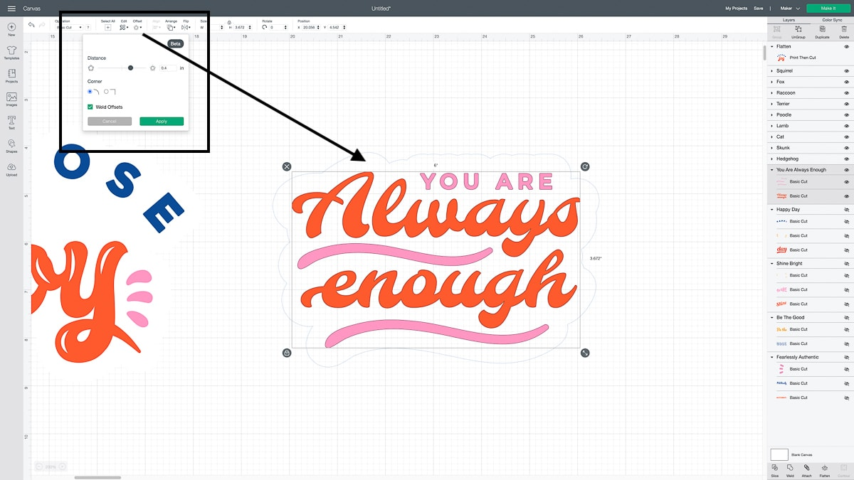 How to Use the Cricut Offset Tool