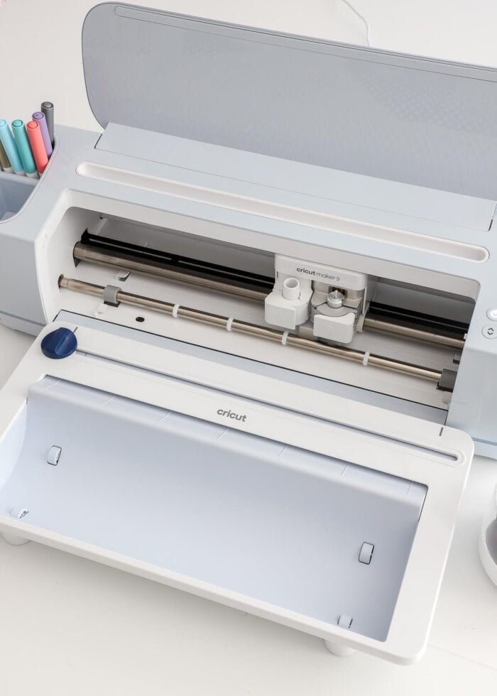 Cricut Maker 3 with the Cricut Roll Holder attached