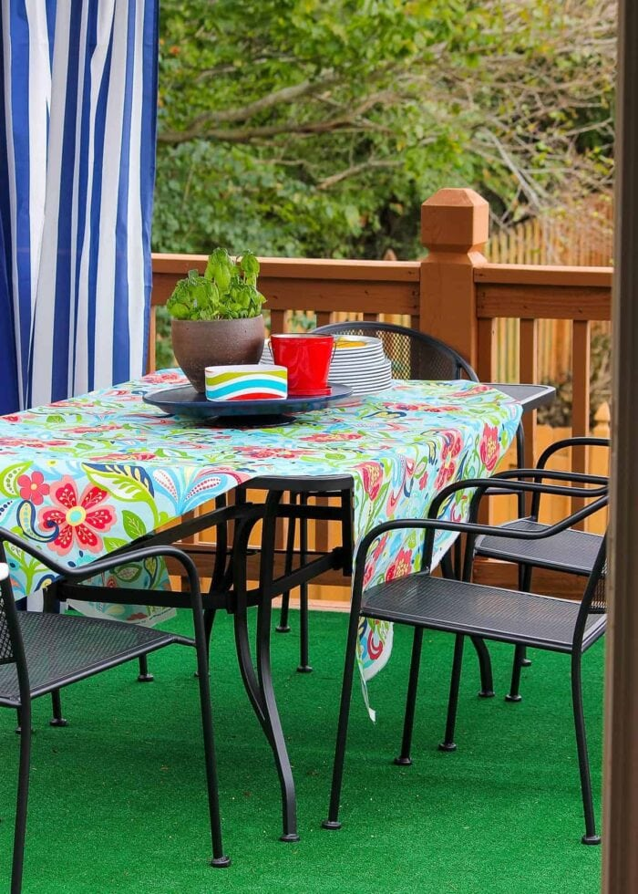 Floral outdoor fabric as table cloth on patio table