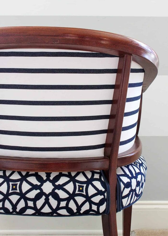 Navy and white tub chair in Sunbrella fabric