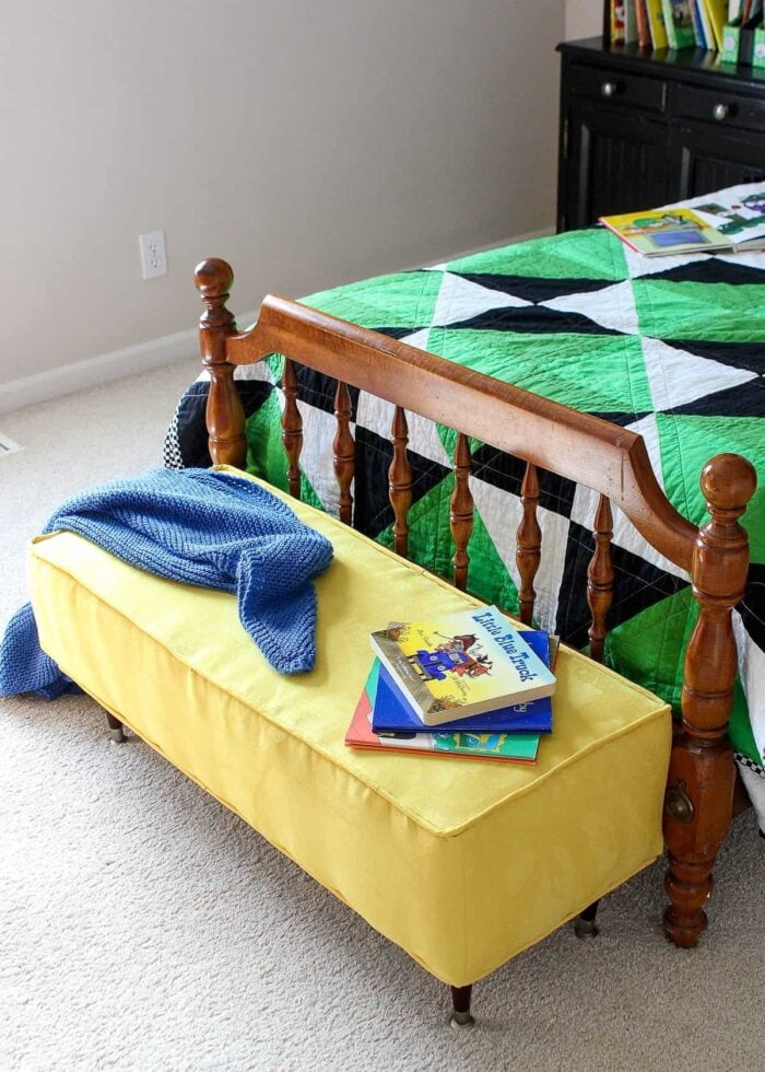 Yellow microsuede ottoman