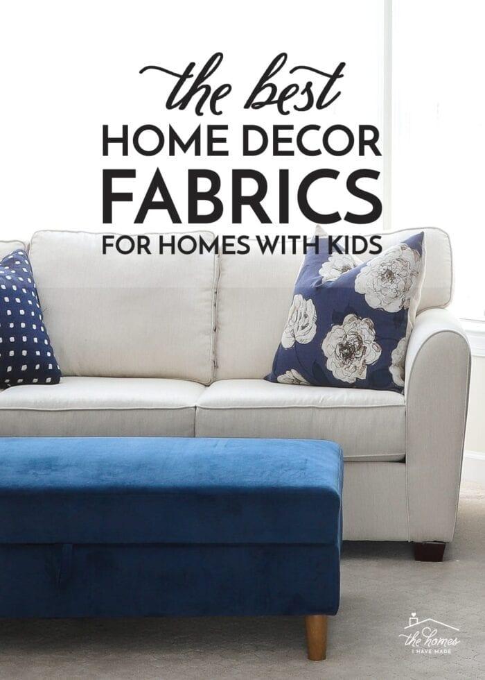 White couch in Sunbrella fabric with blue microfiber ottoman