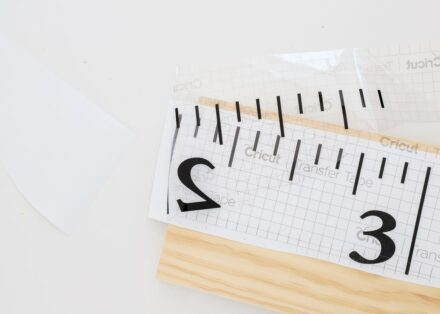 Remove paper backing from the DIY Wall Ruler design