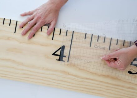 Apply the DIY Wall Ruler design to the wood board