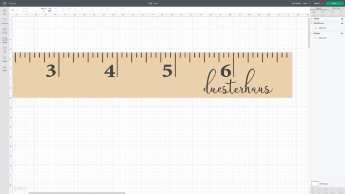 Design Space screenshot for DIY Wall Ruler