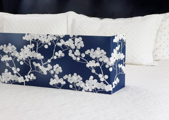 this simple blue window cornice box is made with foam board and wallpaper