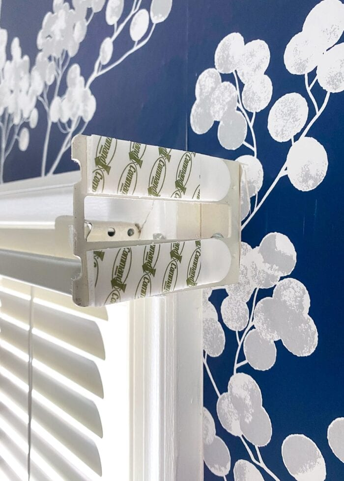 this simple window valance is hung with Command Strips