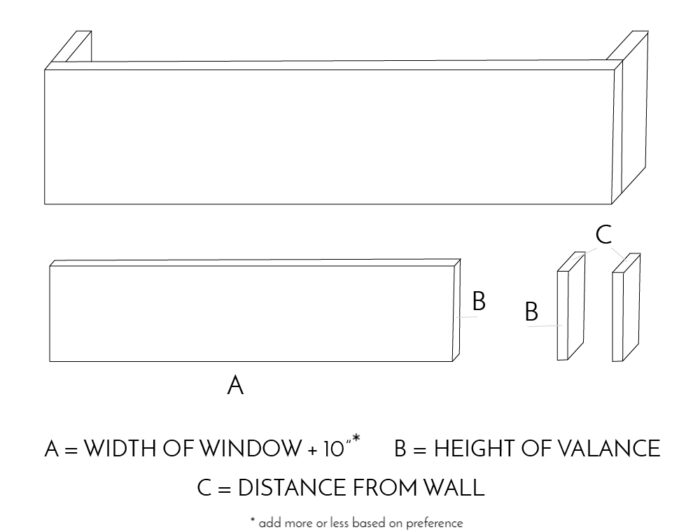 Use these measurements to determine the size of your window valance made with foam board