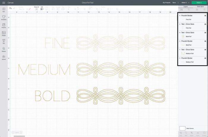 Cricut Design Space Screenshot of changing foil tip weight