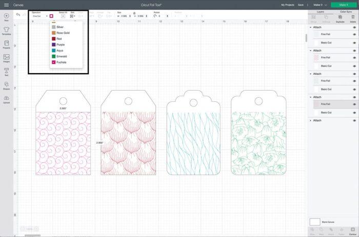 Cricut Design Space Screenshot of changing foil colors