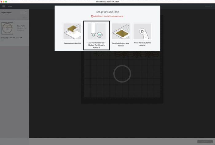 Cricut Design Space Screenshot of changing Cricut Foil Tool