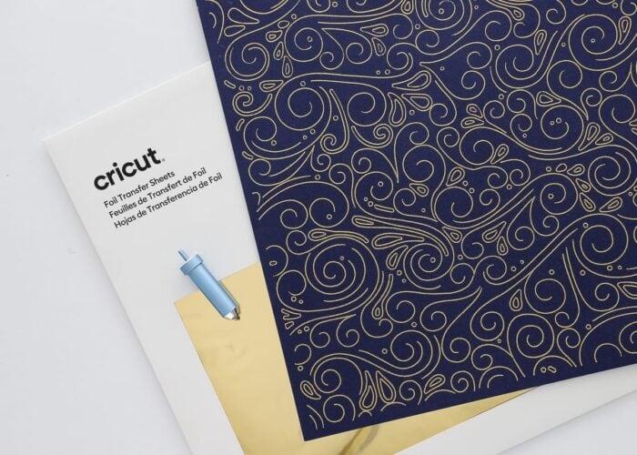 Gold foil details on navy blue cardstock