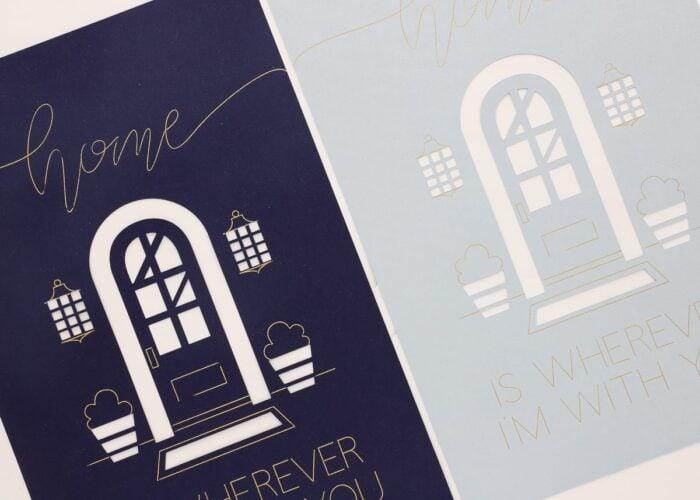 Gold foil details on navy blue and light blue cardstock
