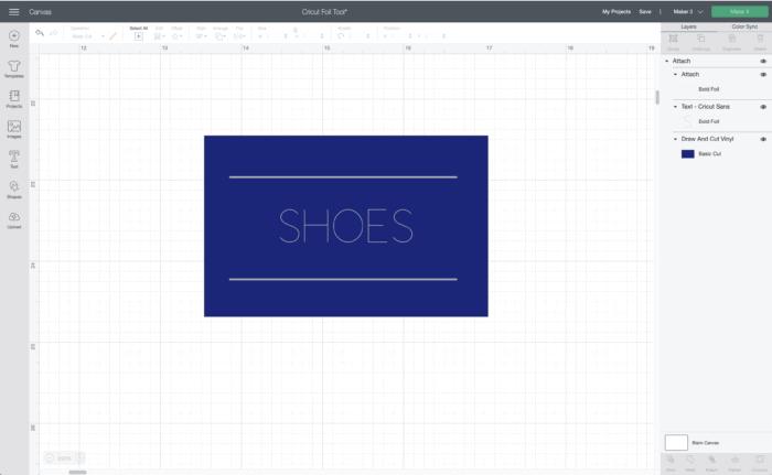 Cricut Design Space Screenshot for labels with foil details