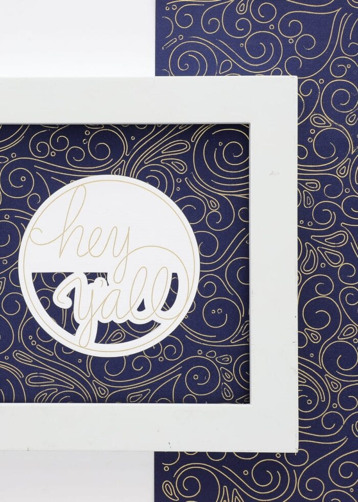 Artwork made with gold foil on navy cardstock